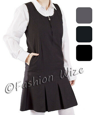 Girls School Pinafore Dress Grey Black Navy Front Zip Pockets Teflon Ages 2-16