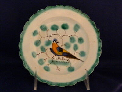 Antique Ceramic English Pearlware Pea Fowl Green Feather-edge pottery dish c1790