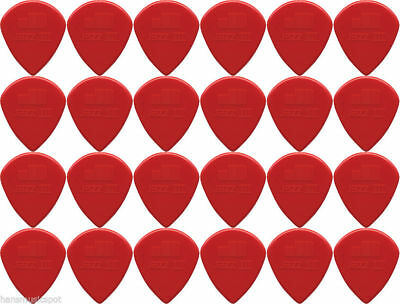 24 X Jim Dunlop Jazz III Red Guitar Picks / Plectrums *NEW* Free Postage