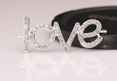 5 pcs Silver Plated Crystal Rhinestone Love Charm Connectors Findings