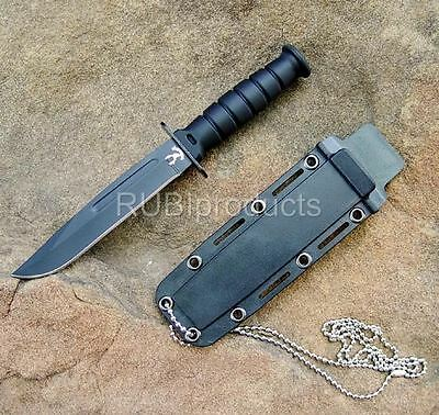 """6"""" SURVIVAL Bowie Tactical Fixed Blade HUNTING KNIFE w/ Neck Chain Black SV01"""