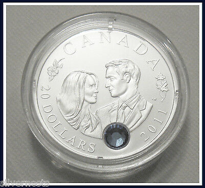 2011 CA Royal Wedding of William & Kate.9999 Pure Silver Proof /Sapphire Crystal