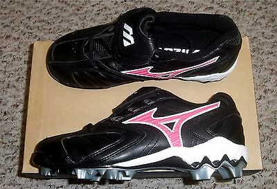 Mizuno Finch Franchise 9 Spike Youth Molded Softball Cleats NIB Black/Pink