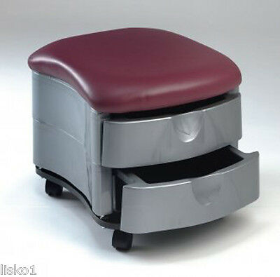 Pibbs 2032 PEDICURE CART ON WHEELS 2-DRAWER STORAGE CUSHION SEAT