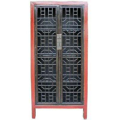 Chinese Kitchen Cabinet with Lattice Door Panels (35-071)