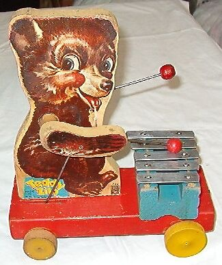 >>>Cool Vintage 1948 Fisher Price 5-Key Teddy Xylophone Pull Toy<<<