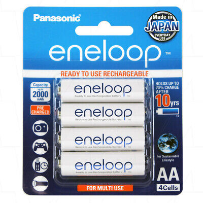 Panasonic Eneloop AA NiMH Rechargeable Batteries x 4 - MADE IN JAPAN