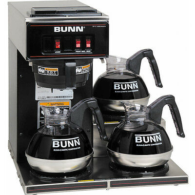 BUNN Commercial Coffee Maker Pourover Brewer ~ VP17-3BLK Machine w/ 3 Warmers