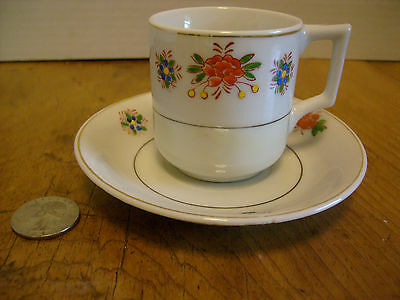 """Vintage Occupied Japan mini-cup and saucer set handpainted 2 1/4"""" tall RB-1"""