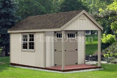 14 39 x 12 39 backyard storage shed with porch plans p81412 for Shed with loft and porch