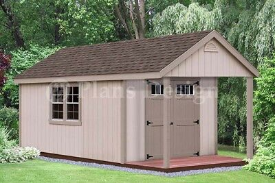16' x 10' Cabin Poolhouse / Shed with Porch Plans #P61610, Free Material List