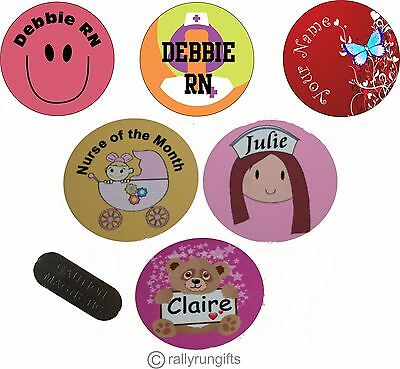 Personalised NURSE ROUND name BADGE tag MAGNET BACK work logo Your design NAME