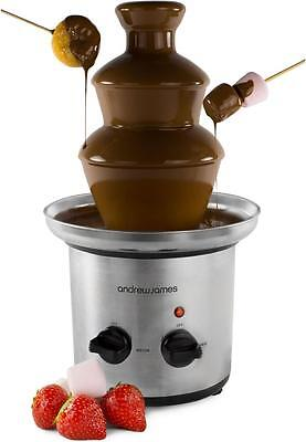Andrew James Stainless Steel Chocolate Fountain Fondue 3 Tiers Ideal For Parties