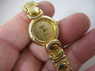 """"""" PARIS """" Easy to Read Gp Dial,Gold Plate Band&Case,""""LADIES WATCH"""" 718 L@@K!!"""