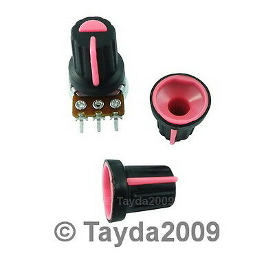 10 x Black Knob with Pink Pointer - Soft Touch - High Quality - Free Shipping