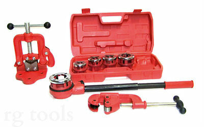 Pipe Threader Ratchet Handle 5 Stock Dies + Pipe cutter # 2 + Clamp Pipe Vice #1