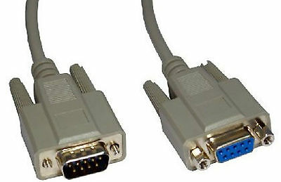 10m Long 9 Pin Serial RS232 Com Male to Female Lead Extension Extender 10 Metre