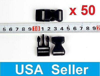 """lot of 50 5/8"""" Flat Side Release Buckles Black Webbing Straps For Paracord"""