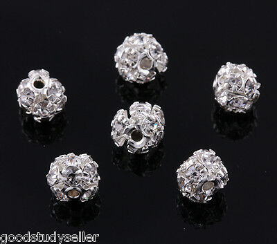 30 pcs Silver Plated Rhinestone Pave Spacer Beads Charms Jewelry Findings 6mm