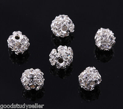 50 pcs Silver Plated Rhinestone Pave Spacer Beads Charms Jewelry Findings 6mm