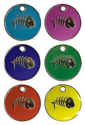 Personalised Pet Cat FISH 20mm Identity ID Tag Disc Engraved FREE