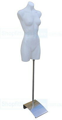 Female Plastic Torso on Stand White - full body form, Mannequin with base