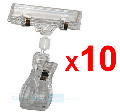 10x CLIP SIGN HOLDER Clamp Pop Card / Ticket / Price Display for Clothing Rack