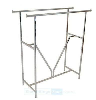 Double Straight Rack - Garment Clothes Clothing Rail - Heavy Duty Rack