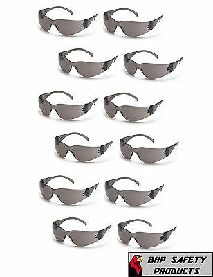(12 Pair) Safety Glass Smoke / Gray Lens Work Eyewear Pyramex Intruder S4120S