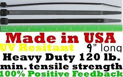 """Cable Zip Ties 300pcs Heavy Duty 120lb 8"""" UV Resistant Black - Made in the USA"""