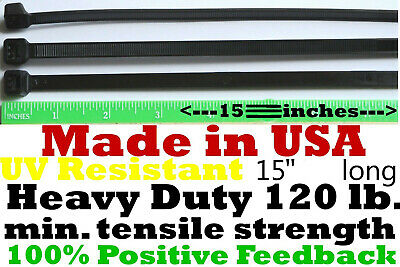"""Cable Zip Ties 300pcs Heavy Duty 120lb 14"""" UV Resistant Black - Made in the USA"""