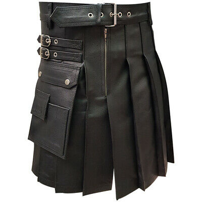 Mens Real Black Leather Gladiator Pleated Utility Kilt LARP - (K5)