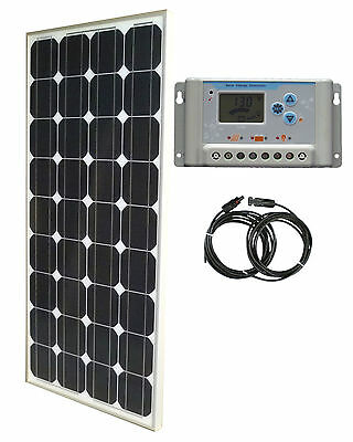 100W Solar Panel panneau solaire 30A 12V LCD charge controller cable RV boat