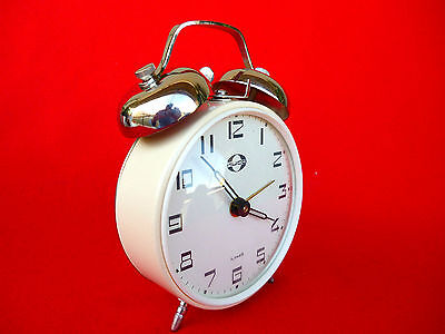 LOUD NEW OLD STOCK Vintage  70's KUCO USSR Winding Alarm Clock with Bells NR111