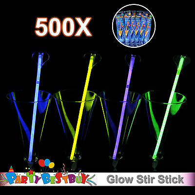 500X Multi Colour Glow Stir Stick Light  Party Glowing in the Dark Glowsticks