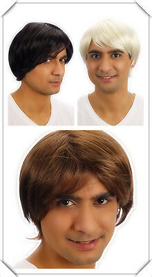 Mens Cosplay Brown Black Blonde Boy Band Pop Star Short Wig Fancy Dress Costume