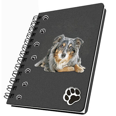 Journal, Lined  Australian Shepherd Acrylic Insets on Cover Spiral Notebook NEW