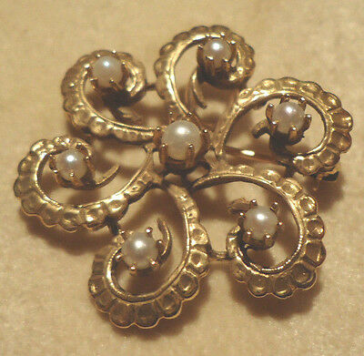 Estate 14K Yellow Gold 7 Pearl Swirl Brooch Wear as Pin or Pendant 8gr