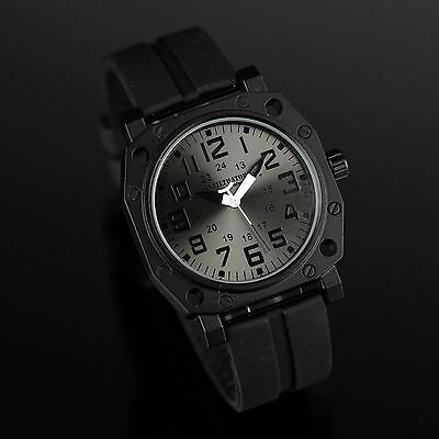 INFANTRY INFILTRATOR MENS QUARTZ WRIST WATCH ARMY SPORT TACTICAL BLACK RUBBER