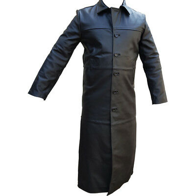 Mens Trench Coat Sexy Real Black Leather Full Length Matrix Goth Gothic