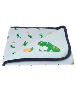 Gymboree Brand New Baby Blue Frog Reversible Blanket 1-Size Nwt