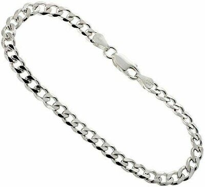 Curb Cuban 7mm Sterling Silver Link Chain Mens Necklace Italy 925 Jewelry Argent