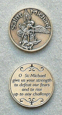 (2) SAINT MICHAEL Silver Tone Pocket Tokens -Italy-
