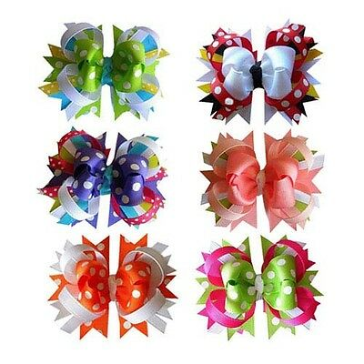 "4"" Polka Dot Boutique Baby/Girl Spike Hair bows Wholesale 12PCS MIX 6 Color"