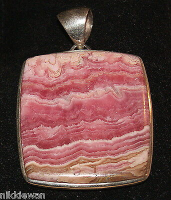 Sterling Silver Large Square design Rhodochrosite Pendant Jewellery No.2021 New