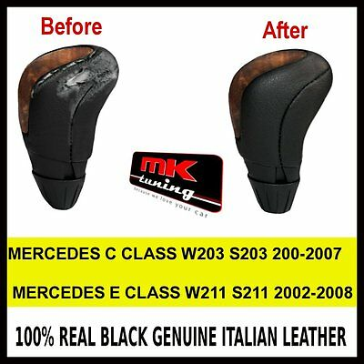 Mercedes W211 S211 W203 S203 Black Leather Gear Knob Cover Only