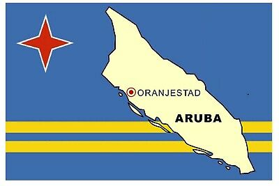 Aruba Map & Flag - Souvenir Novelty Fridge Magnet - Sights / Flag / New / Gifts