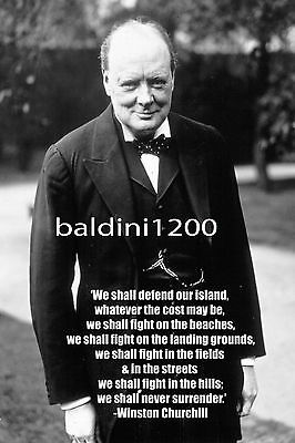 Winston Churchill - Beautiful Poster  Print With Quote - Looks Awesome Framed