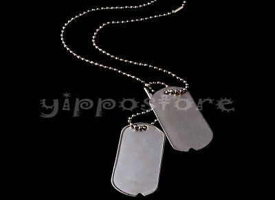 U.S. Military Spec Army WWII Blank Dog Tags Set w/ Stainless Steel Chains