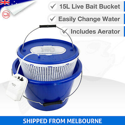 3in1 LIVE BAIT BUCKET & Free Aerator Pump - 18L - 120+ hrs run time - 2 speed